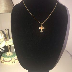 Jewelry - Gold tone necklace, cross charm with jewel